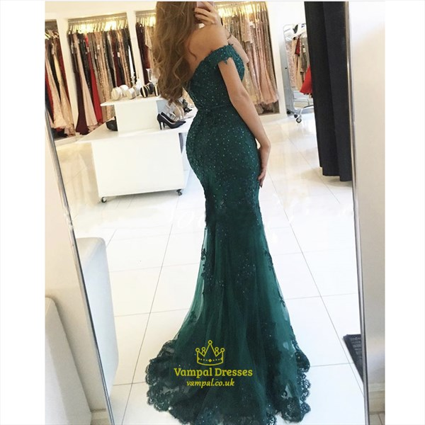 Green Sweetheart Off The Shoulder Mermaid Prom Dress With Lace Applique