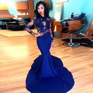 Royal Blue Long Sleeve Mermaid Style Prom Dresses With Lace Appliques
