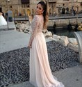 Illusion Pearl Pink Bead-Work Embellished Long Prom Dresses With Train