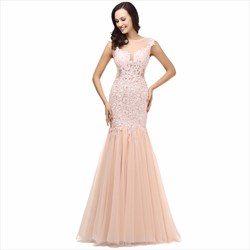 Elegant Pearl Pink Capped Sleeves Mermaid Prom Dress With Lace Applique