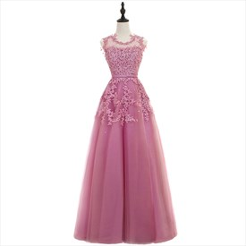 Illusion Floor Length Sleeveless Bead Cocktail Dress With Lace Applique