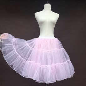 Girls Tulle Netting A-Line Short-Length Three-Tier Pink Petticoat