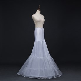 Women Tulle Nylon/Polyester Floor Length Mermaid White Petticoat