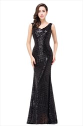 Vintage Sequin Sleeveless V-Neck Bodycon Mermaid Style Prom Dresses