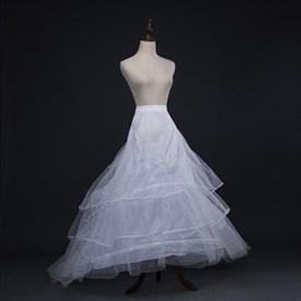 Women Tulle Netting Polyester Chapel Train Four-Tier Petticoat