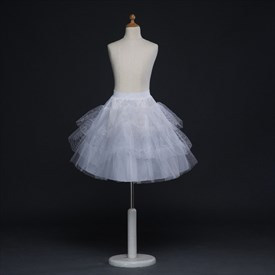 Girls Tulle Netting/Polyester Short-Length A-Line White Petticoat