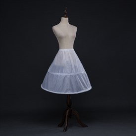 Women Nylon Polyester Knee Length A-Line One-Tier Petticoat