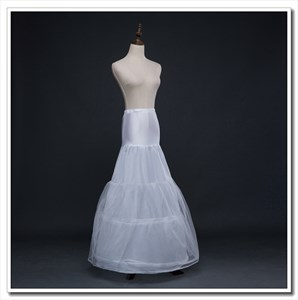 Women Tulle Elastic Satin Floor-Length Three-Tier Mermaid Petticoat