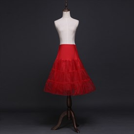 Women Tulle Elastic Satin Knee-Length Three-Tier A-Line Red Petticoat