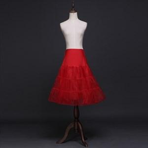Women Tulle Elastic Satin Knee-Length Three-Tier A-Line Red Petticoat