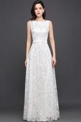 Elegant White Lace Sleeveless V Back Floor Length Prom Dress