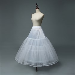 Women Tulle Netting Nylon Floor Length Three-Tier Ball Gown Petticoat