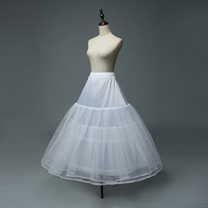 Women Tulle Netting Nylon Floor Length Three-Tier Ball Gown Petticoat