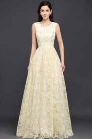 Ivory Long Lace Sleeveless Bead Embellished Scoop Neckline Prom Dress