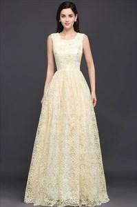Ivory Long Lace Sleeveless Bead Embellished Scoop Neckline Prom Dress