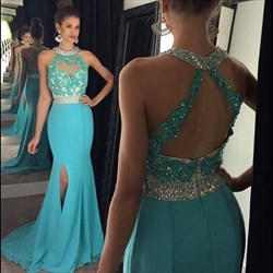 Blue Sleeveless Halter Sheath Mermaid Prom Dresses With Train And Slit
