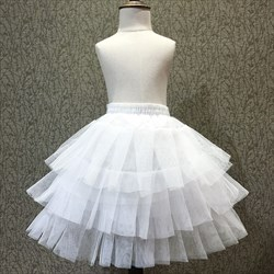 Girls Tulle Netting Nylon Short-Length A-Line Three-Tier Petticoat