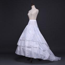 Women Elastic Satin Three-Tier White Petticoat With Chapel Train
