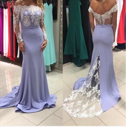 Lilac Long Sleeve Off The Shoulder V Back V Back Mermaid  Prom Dress With Train