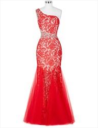 Red One Shoulder Sleeveless Floor Length Rhinestone Mermaid Prom Dress