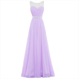 Light Purple Sleeveless Beading Chiffon Prom Dress With Back Cut Out
