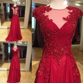 Red Capped Sleeve Beaded Chiffon Prom Dresses With Train And Applique