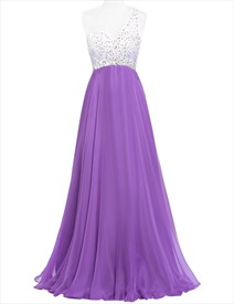Violet Deep V Neck Long Chiffon Prom Dress With Rhinestone Embellished