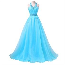 Blue Floor Length Halter Embellished Rhinestone Organza Evening Dress