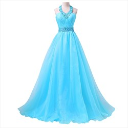 Blue Floor Length Halter Embellished Rhinestone Organza Evening Dress