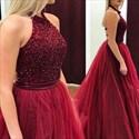 Burgundy Sleeveless Beaded Halter Neckline Floor Length Evening Gown