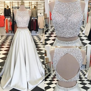 Silver Sleeveless Two Piece A Line Prom Dresses With Jewel Embellished