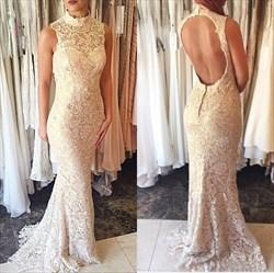 Ivory Sleeveless Lace Embellished High Neck Mermaid Style Prom Dresses