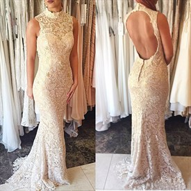 Ivory Sleeveless Lace Embellished High Neck Mermaid Style Prom Dresses
