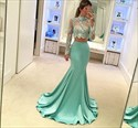 Mint Green Long Sleeves High Neck Lace Top Mermaid Style Prom Dress