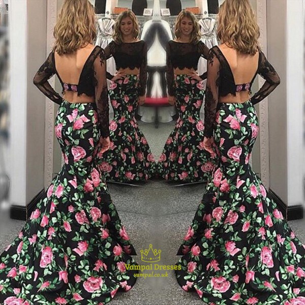 Black Lace Top Two Piece Backless Mermaid Prom Dress With Long Sleeves