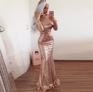 Blush Pink Sequin Long Sleeve Mermaid Style Prom Dress With Cutout Back
