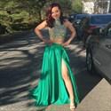 Green Sequin Sleeveless Halter Dress Floor Length Prom Dress With Slit