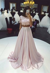 Pearl Pink Short Sleeve Scoop Neck Floor Length Prom Dresses With Lace