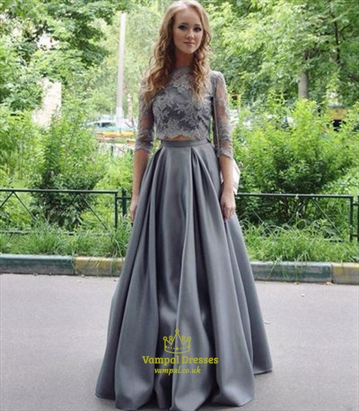 Grey 3/4 Length Sleeve Lace Embellished Prom Dress With Two Piece