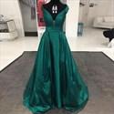 Elegant Emerald Cap Sleeve Embellished Deep V Neck A Line Prom Dress