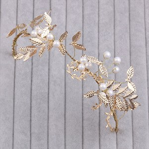 Gorgeous Alloy Golden Leaf Headbands With Faux Pearl