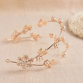 Exquisite Alloy Imitation Pearls Headbands With Golden Leaf