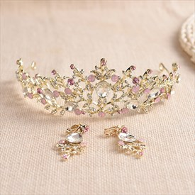 Gorgeous Alloy Imitation Pearls/Rhinestone Tiaras & Earrings