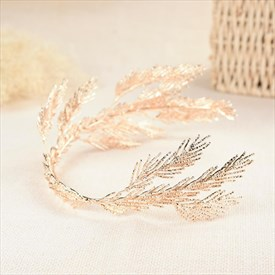 Ladies Exquisite Elegant Alloy Golden Leaf Tiaras