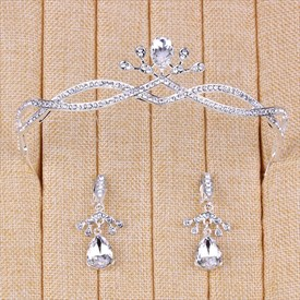 Shining Elegant Alloy Rhinestones Tiaras & Earrings