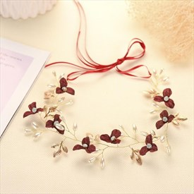 Elegant Alloy Faux Pearls/Fabric Flower Ribbon Headbands