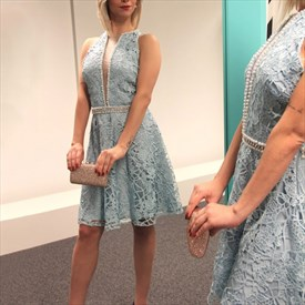 Blue Lace Sleeveless Plunging Neckline Cocktail Dress With Beaded Waist