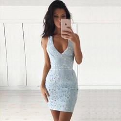 Light Blue Lace Sleeveless V Neck Sheath Pencil Homecoming Dresses