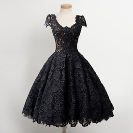 Little Black Lace Overlay Cap Sleeves Dropped Waist Homecoming Dresses
