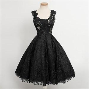 Little Black Or Green Lace Overlay Sleeveless Tea-Length Cocktail Dress